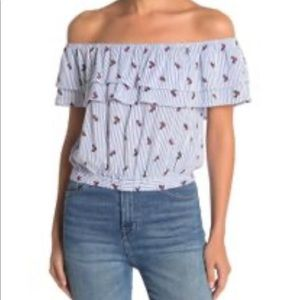 FAVLUX Floral & Pinstripe Off the Shoulder Top  M